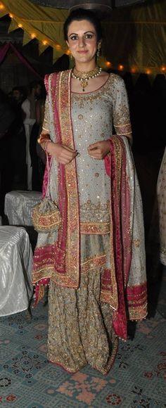 pakistani rusy rose and grey sharara suit Punjabi Fashion, India Fashion, Women's Fashion, Saris, Pakistani Outfits, Indian Outfits, Bridal Outfits, Bridal Dresses, Party Dresses