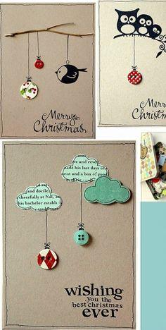 einfache kreativ weihnachtskarten basteln idee Source by lottabed Homemade Christmas Cards, Noel Christmas, Homemade Cards, Handmade Christmas, Xmas Cards Handmade, Cute Christmas Cards, Christmas Ideas, Tarjetas Diy, Button Cards