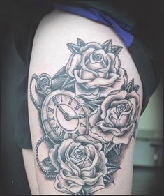 Unbeatable clock tattoo designs to try once Trendy Tattoos, Tattoos For Women, Tattoos For Guys, Cool Tattoos, Music Tattoos, Side Thigh Tattoos, Rose Tattoo Thigh, Tattoos On Thighs, Clock Tattoo Design