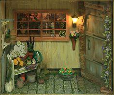 Miniature Cottage Floral Shop Vignette