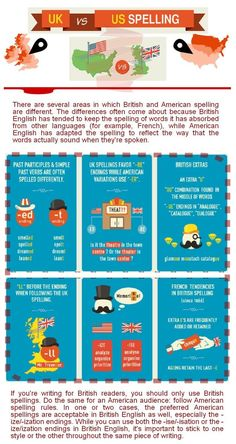Infographic: British and American English spelling differences | Teach them English
