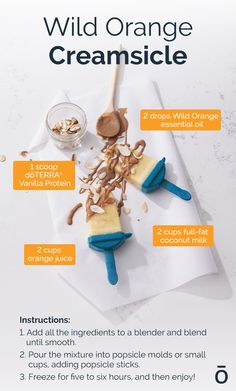 Are you tired of syrupy popsicles from the grocery store? Try this recipe for a creamsicle that's tasty and healthy! Cooking With Essential Oils, Essential Oils For Kids, Wild Orange Essential Oil, Orange Creamsicle, Ice Cream Toppings, Gluten Free Snacks, Doterra Essential Oils, Popsicles, Diy Food