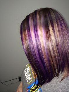 Pravana Vivids - Violet, with blonde highlights and brown lowlights.
