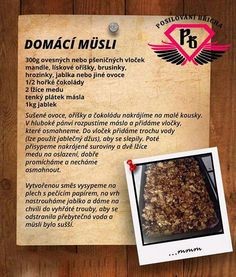 Müsli - rychlé a málo surovin Muesli, Sheet Pan, Healthy Life, Banana Bread, Low Carb, Healthy Recipes, Homemade, Cooking, Cake