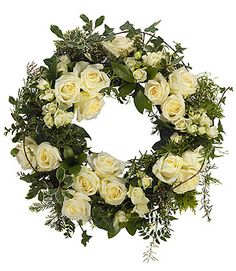 Funeral Wreath in white roses Flower Wreath Funeral, Funeral Flowers, Wedding Flowers, White Wreath, Floral Wreath, Flower Wreaths, Funeral Floral Arrangements, Funeral Sprays, Funeral Tributes