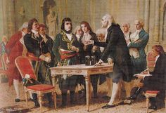 """Alessandro Volta demonstrating his battery (called the """"Voltaic Pile"""") to Napoleon, 1801.   Painting by Giuseppe Bertini (1825-1898)"""