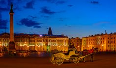 White Nights in St. Petersburg / The Palace Square with the Alexander Column and the Winter Palace as final.