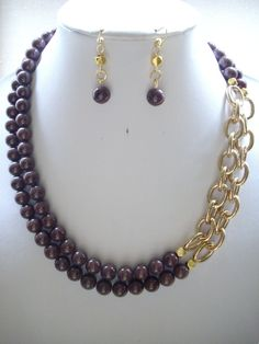 Coconut Chocolate Brown Jade Beads Gold by DesignsbyPattiLynn, $60.00