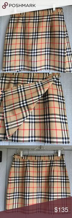 """AUTHENTIC Burberry Mini Skirt from 90's IN London Bought this is 1996 before I left London and moved back to America. Here's the great thing about it - it buttons on one side and closes on the other inside area with Velcro - so it's got a bit of room to grow! 🙌🏾 bought it as a reminder of good times - now it needs a new home. You will be hard pressed to find such excellent vintage Burberry like this. No rips. No pulls. 💯 Wool. Measurements are approximate waste: 15"""" length: 17"""" bottom…"""
