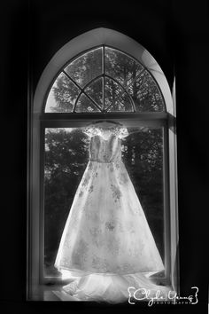 Wedding dress displayed by the window of the deCordova Sculpture Park and Museum library - #bostonwedding #decordova #melissasweet #weddingdress