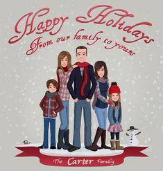 Custom family portrait : Custom Holiday card, custom mother's day / father's day / birthday gift , custom illustration