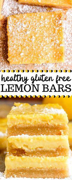 Cookies Sans Gluten, Dessert Sans Gluten, Gluten Free Desserts, Healthy Gluten Free Snacks, Gluten Free Bars, Lemon Bars Healthy, Healthy Sweets, Healthy Dessert Recipes, Healthy Lemon Desserts