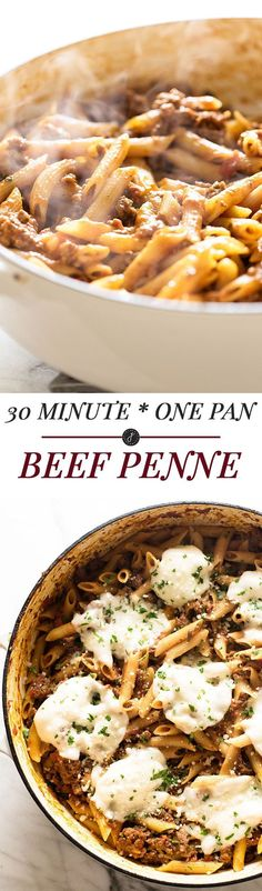 A quick and easy dinner! 30 Minute One Pan Beef Penne | Girl Gone Gourmet