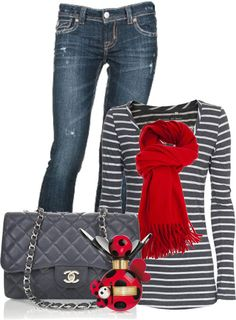 Love the grey with a pop of red.