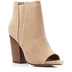 Splendid Kendyll Open Toe High Heel Booties ($185) ❤ liked on Polyvore featuring shoes, boots, ankle booties, nut, chunky booties, high heel ankle booties, chunky high heel booties, open toe high heel boots and suede booties