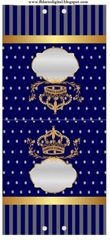 kit festa infantil totalmente grátis o tema realeza com as cores azul marinho e cinza   O Kit festa infantil é  Realeza  com as cores, azul...