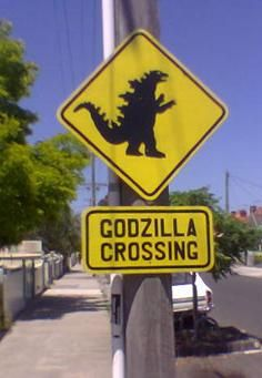 Godzilla Sign - something similar for a construction themed boys room maybe.