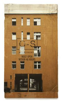 From Jonathan LeVine Projects, Evol, The Closed Neighbor Spray paint on cardboard, 46 × 27 in Cardboard Model, Cardboard Paper, Typo Logo Design, Collage Art, Newspaper Collage, Arte Horror, Paper Houses, Assemblage Art, Art For Art Sake
