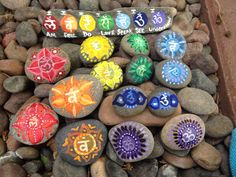Chakra meditation rocks-hand painted-set of 7 by SweetIssuesArt