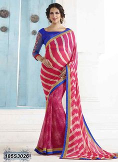 Ambitious Pink Coloured Georgette Saree