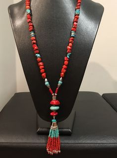 Ideas jewerly making necklace beads sea glass for 2019 Tassel Jewelry, Bead Jewellery, Turquoise Jewelry, Stone Jewelry, Beaded Jewelry, Jewelry Necklaces, Beaded Bracelets, Handmade Necklaces, Handcrafted Jewelry