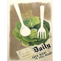 Vintage Apple Collection Premium Thick-Wrap Canvas Wall Art Print entitled Eat Greens - Vintage Propaganda, None Canvas Wall Art, Wall Art Prints, Canvas Canvas, Abstract Canvas, Urban Chickens, Thing 1, Vintage Recipes, Vintage Food, Vintage Travel