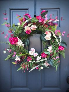 Spring Door Wreaths Spring Door Decor Spring Wreaths Pink Green Wreaths Fern Wreaths Pink Door Decor Spring Gift Ideas Gifts for Her Spring Door Wreaths, Summer Wreath, Green Wreath, Floral Wreath, Shabby Chic Wreath, Ikebana Flower Arrangement, Decor Crafts, Art Decor, Decor Ideas