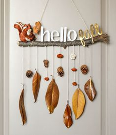 Fall Decorating 83252 make an autumn mobile in driftwood branch with hanging autumn leaves and pine cones, small figurines decorations Autumn Crafts, Fall Crafts For Kids, Nature Crafts, Diy For Kids, Diy And Crafts, Space Crafts, Fall Projects, Diy Projects, Small Figurines