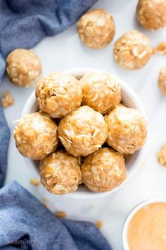 4 Ingredient No Bake Peanut Butter Coconut Energy Bites (Gluten-Free, Vegan, Dairy-Free, One Bowl, Protein-Packed) - Beaming Baker Healthy Sweet Snacks, Healthy Sweets, Vegan Snacks, Healthy Baking, Healthy Food, Gourmet Recipes, Whole Food Recipes, Vegan Recipes, Cooking Recipes