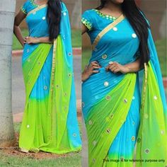 Sky Blue And Green Color Georgette Saree Indian Wear green color in sky - Green Things Wedding Saree Collection, Designer Sarees Collection, Latest Designer Sarees, Fancy Sarees Party Wear, Kurti Designs Party Wear, Pattu Saree Blouse Designs, Half Saree Designs, Parrot Green Saree, Sky Blue Saree