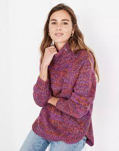 Multicolored Zip-Turtleneck Sweater