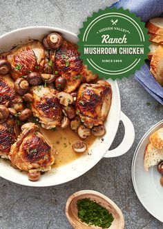 Ranch and mushroom chicken thighs recipe cooking Cooker Recipes, Crockpot Recipes, Diet Recipes, Healthy Recipes, Gourmet Recipes, Healthy Snacks, Recipies, Chicken Thigh Recipes, Mushroom Chicken