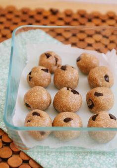 Recipe:  Raw Chocolate Chip Cookie Dough Bites   Snack Recipes from The Kitchn - I have to make these!