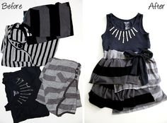 Striped Sundress Knockoff - made from four child t-shirts