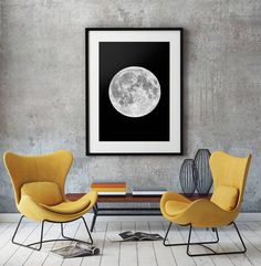 Striking and minimalistic print of our Moon.Sometimes less is more and we think that this stunning image of the moon makes a fantastic piece of art. Perfectly round with a detailed surface, the moon stands out on a pure black background. This print is sure to make a great feature in any room of the home and looks even better when framed.Our Frames: All prints are available framed in three finishes; oak, white and black. Our hand made 2.3cm frames are made to order in the UK by qualified…