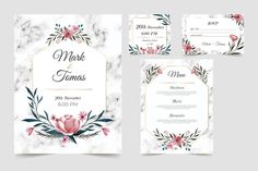 Floral wedding stationery template set F... | Premium Vector #Freepik #vector #wedding #menu #floral #invitation