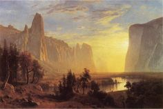 Yosemite Valley also known as Looking Down the Yosemite Valley by Albert Bierstadt - OilPaintings.com #DIY