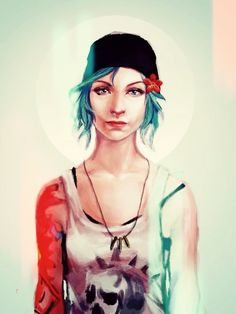 blue hair, chloe, chloe price, fanart, flower, life is strange, lis, punk, square enix, video games, videogames