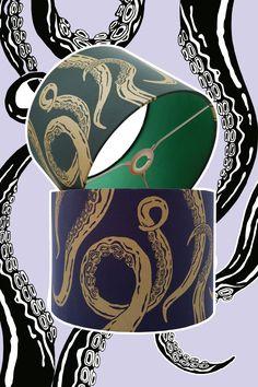Der Oktopuschirm für Menschen die das ganz besondere lieben, der Stoff wurde im Handsiebdruck bedruckt und ist käuflich nicht zu erwerben. Bunt, Playing Cards, Artwork, Octopus, Special People, Fabrics, Work Of Art, Playing Card Games, Cards