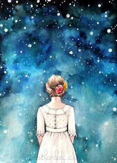 Starry Night Sky and Girl Watercolor - Art Painting by Heatherlee Chan | Lady Poppins www.ladypoppins.etsy.com