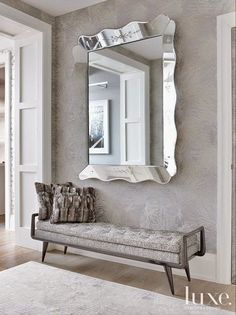 Love the big mirror with a bench under it. Maybe big dining room wall or wall in living room by doors