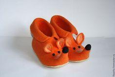 Обувь ручной работы. Ярмарка Мастеров - ручная работа тапочки валяные -Лиски( высокие). Handmade.