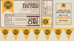 free printable up/ wilderness explorers: invite, bunting, and thank-you table sign.