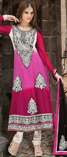 Shaded Off White, Light #Pink and Pink Faux Georgette Churidar #Kameez @ $125.82