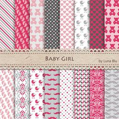 Baby Girl digital paper pack: It's a Girl by Lunabludesign