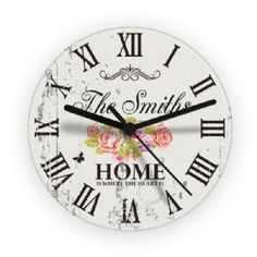 Personalised Shabby Chic Floral Glass Clock, a great gift to give this Mothers Day | Keepsake Kreations