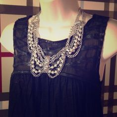 "Spotted while shopping on Poshmark: ""Silver tone/black statement necklace/earring set.""! #poshmark #fashion #shopping #style #Jewelry"