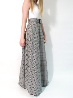 houndstooth long skirt