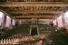 High school auditorium destroyed by fire. Building Structure, Chernobyl, Urban Exploration, Auditorium, Sci Fi Fantasy, Destruction, High Quality Images, Really Cool Stuff, Paris Skyline
