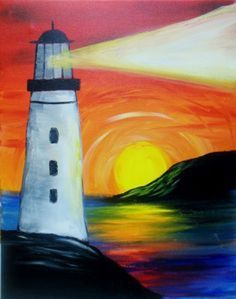 Paint Nite lighthouse painting with rainbow reflections. Would be just as pretty without the lighthouse. (Cool Paintings For Beginners) Easy Canvas Painting, Easy Paintings, Painting & Drawing, Landscape Paintings, Canvas Art, Painting Tips, Poster Color Painting, Lighthouse Painting, Guache